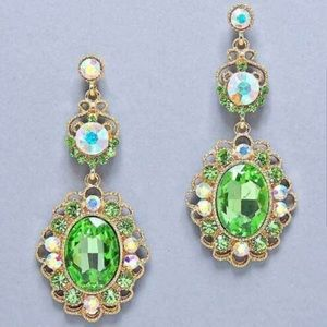 Gold and Green Costume Jewelry Earrings